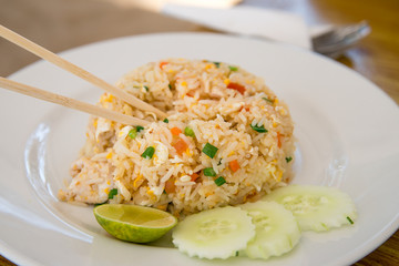 Thai   rice with eggs and chicken