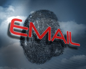 Email against fingerprint in sky