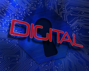Digital against keyhole graphic on blue background