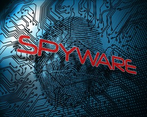 Spyware against illustration of blue fingerprint