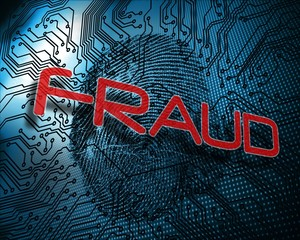 Fraud against illustration of blue fingerprint