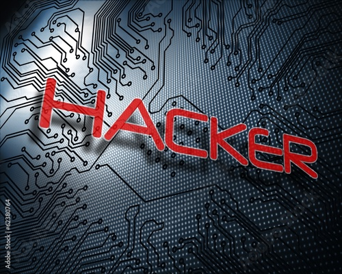 Hacker against illustration of circuit board