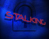 Stalking against lock on digital background