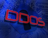 Ddos against keyhole graphic on blue background