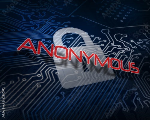 Anonymous against white digital padlock over circuit board