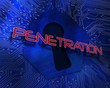 Penetration against keyhole graphic on blue background