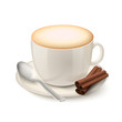 Realistic white cup filled with cappuccino