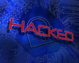 Hacked against lock graphic on blue background