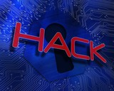 Hack against keyhole graphic on blue background