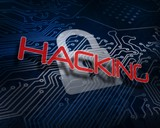 Hacking against white digital padlock over circuit board