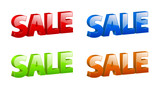 vector 3D color sale signs