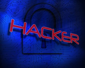 Hacker against lock on digital background
