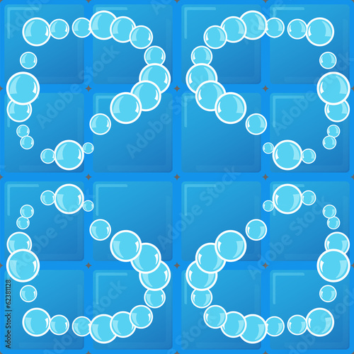 soap bubbles on blue background tiles