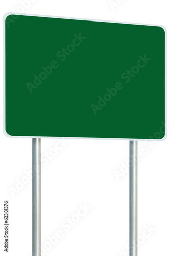 Blank Green Signboard Road Sign Isolated, Large Copy Space
