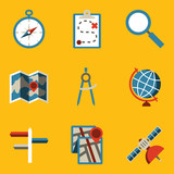 Flat icon set. Navigation