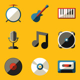 Flat icon set. Music