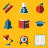 Flat icon set. Education