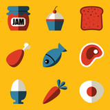 Flat icon set. Food
