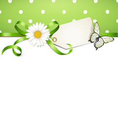 Frühlingskarte - Margeritenschleife, Etikett u. Schmetterling