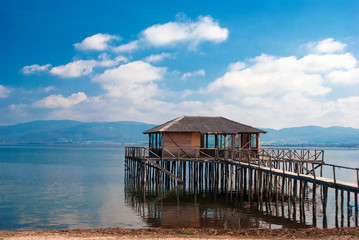 A typical lagoon house of the doiranii area Greece