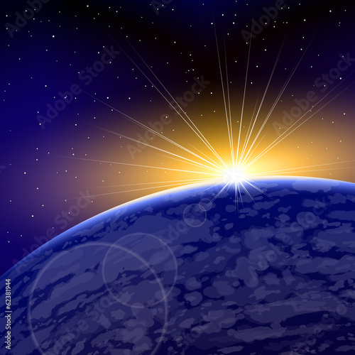 Sunrise over a planet in space on a background from stars; Eps10