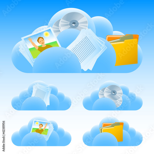 Set of icons on the theme Cloud technology; Eps8