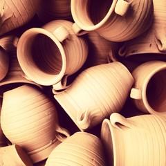 Many clay jugs