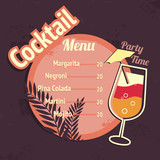 Alcohol cocktails drink menu card template