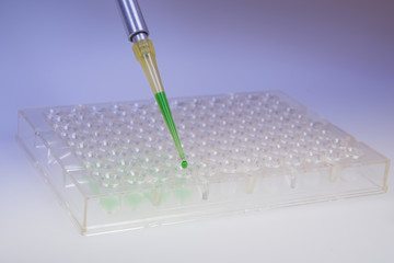 Automatic pipette with drop of green liquid over 96-well plates
