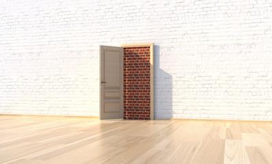 Tür im abstrakten Raum zugemauert