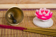 candle, bell and  aromatherapy. Mat to Zen practice.