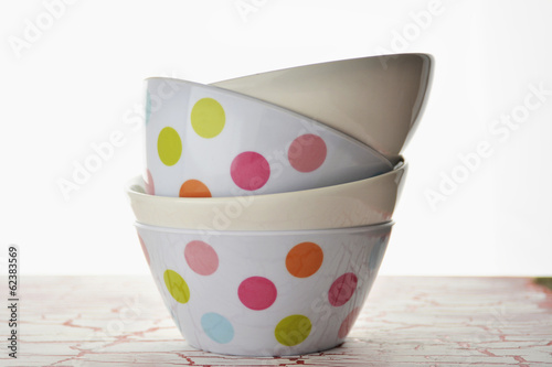 empty plastic bowls with colored spots