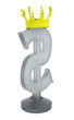 3D glass dollar sign with a crown