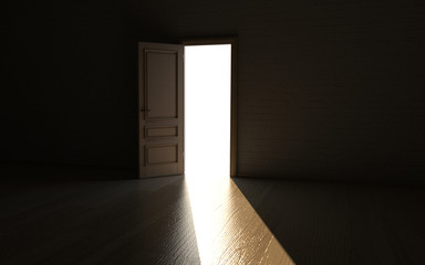 Geöffnete Tür führt ins Licht