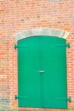 Large closed green door