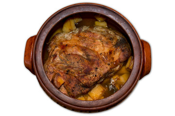 Roast pork meat with potatoes isolated