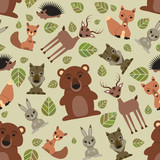 Seamless pattern with cute wild animals