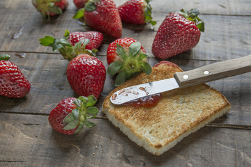 toast and strawberry jam