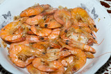 fresh gulf shrimps with garlic fried in olive oil