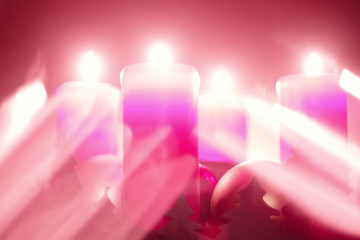 Advent lights series. Pink and red