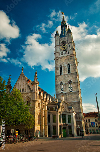 Bell tower of the belfry of Ghent Belgium