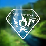 Decorative camping outdoor tourism emblem