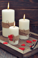 Candles with fabric hearts