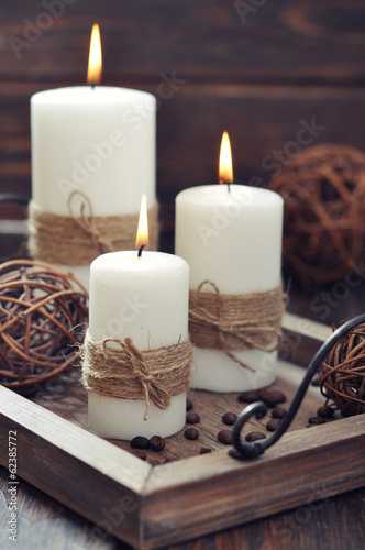 Candles on  vintage tray