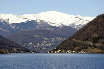 View of snowy mountain from Porto Ceresio