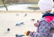 Small girl feeding birds outdoors