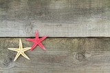 Starfishes on old plank