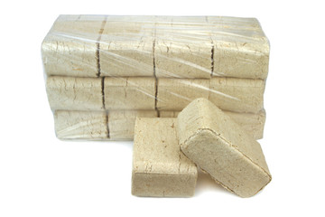 wood briquettes isolated on white background.