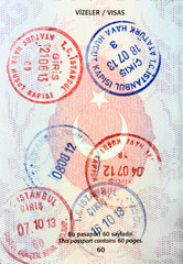 Visa stamps in Turkish passport.