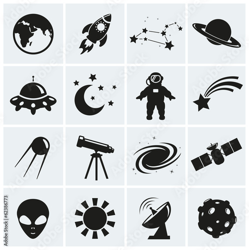 Fototapeta Space and astronomy icons. Vector set.